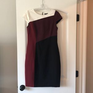 White House Black Market Ponte Color Block Dress